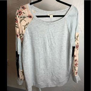 Women Style & Co. Gray Floral Stripe Sweatshirt XL